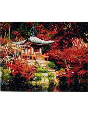 Kit broderie diamant Temple Japonais - Tableau Crystal Art 40x50cm