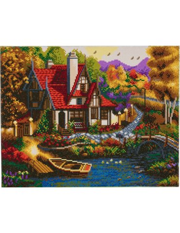 Kit broderie diamant Cottage - Tableau Crystal Art 40x50cm