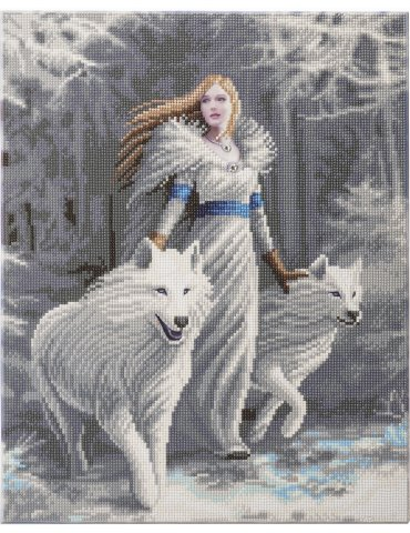 Kit broderie diamant Anne Stokes - Tableau Winter Guardians - Loups