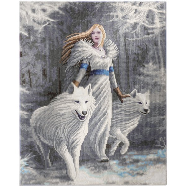 Kit broderie diamant Anne Stokes - Tableau Winter Guardians - Loups