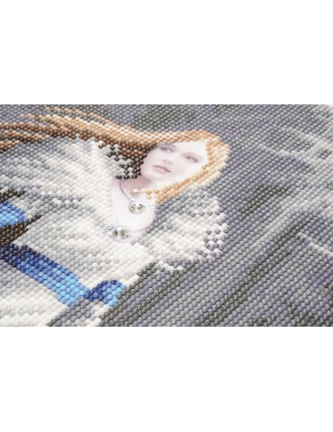 Kit broderie diamant Anne Stokes - Tableau Winter Guardians - Loups - ZOOM