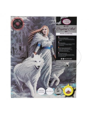 Kit broderie diamant Anne Stokes - Tableau Winter Guardians - Loups - Emballé