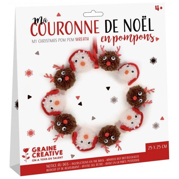 Kit Couronne de noël en pompons - Graine Créative - Activité noël 4ans+