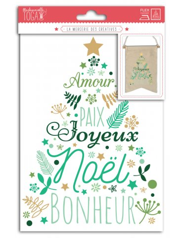 Motifs thermocollants A5 - Sapin Vert et Or - Toga