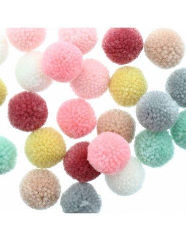 Set 24 pompons laine 3cm - Mix pastel - Rico Design