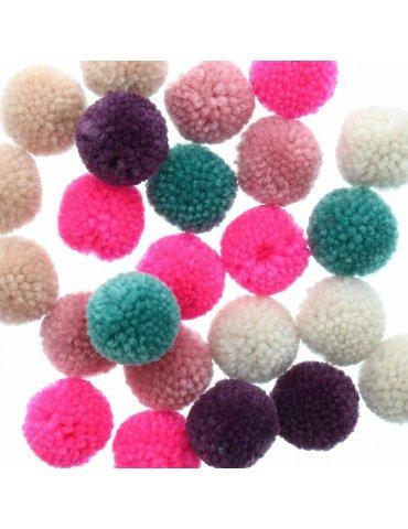 Set de 24 pompons laineux - Jolly Christmas pastel - 3cm - Rico Design