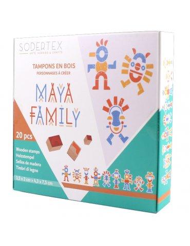 Boite 20 tampons en bois - Maya Family - 3 ans+ - Sodertex