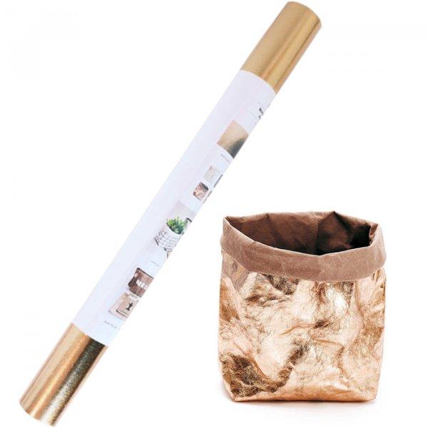Papier vegan - Washable paper Or rose - 48x100 cm - Rico Design