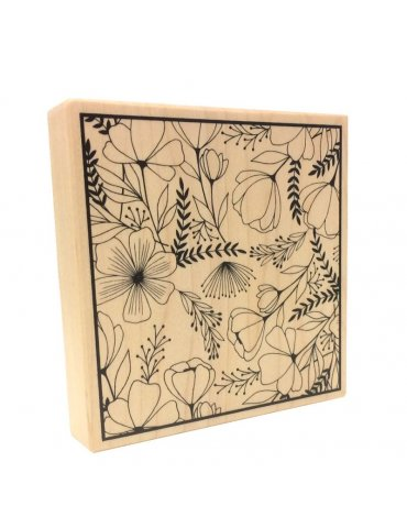 Tampon bois Artemio - Good Vibes' Fleurs - 10x10cm