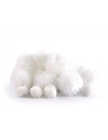 Set 24 pompons laineux blanc - 15mm et 30mm - Graine Créative