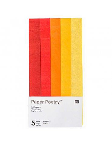Set 5 feuilles Papier soie Rouge assortis 50x70cm - Paper Poetry