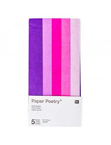 Set 5 feuilles Papier soie Lilas assortis 50x70cm - Paper Poetry