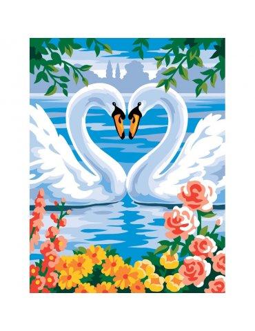 Peinture par numéros débutant - Les Cygnes amoureux - Sequin Art