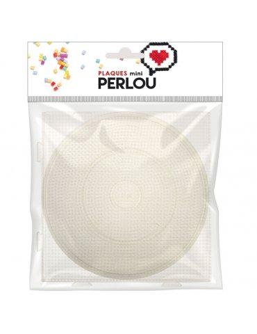 Perlou - Set 2 grandes Plaques pour perles à repasser (2mm)  - Rond Ø15cm + Carré 14cm