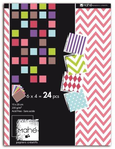 Bloc Deco Mahé motifs - 15x20cm - 24f. (6 designs x 4 couleurs)