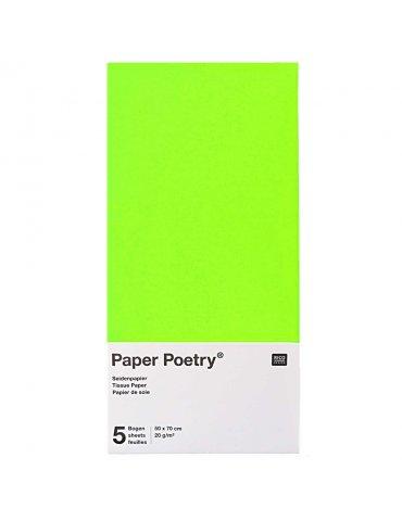 Papier soie Vert Fluo - 5 feuilles 50x70cm - Paper Poetry