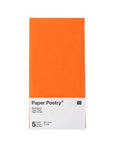 Papier soie Rouge Fluo - 5 feuilles 50x70cm - Paper Poetry