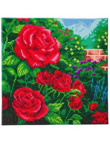 Kit broderie diamant T. Kinkade Roses - Tableau Crystal Art 30x30cm
