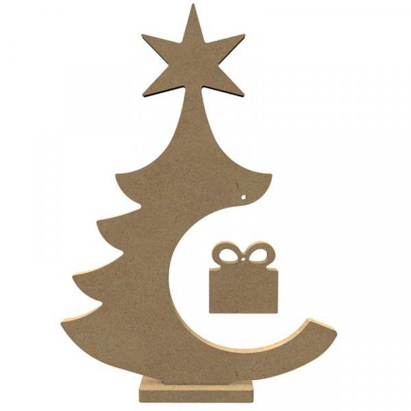 Support medium - Sapin avec paquet cadeau sur socle - 30cm - Gomille
