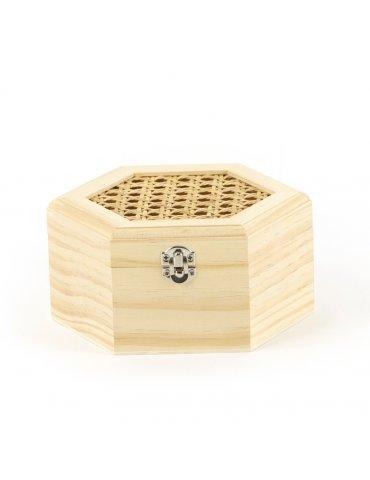 Boite hexagonale bois avec couvercle cannage - 165x80x143mm - Graine Créative