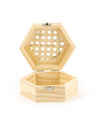 Boite hexagonale bois avec couvercle cannage - 130x60x113mm - Graine Créative