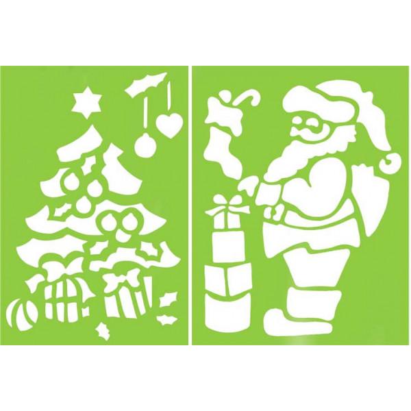 Pochoir Pere Noel.Pochoirs Géants Père Noël Sapin