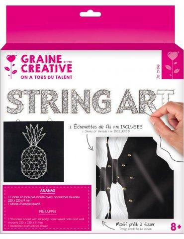 Kit Tableau String Art - Ananas - 22x22cm - Graine Créative