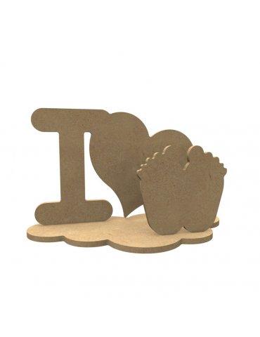 Support medium - I LOVE pieds sur socle - Gomille