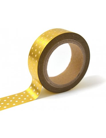 Masking tape Foil - Or à pois Blanc - 15mm x10m - Toga