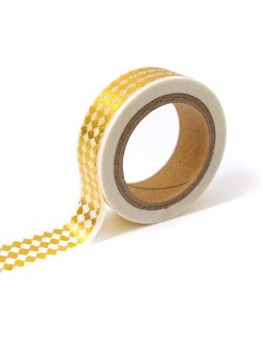Masking tape foil - Losanges Blanc/Or - 15mm x10m - Toga