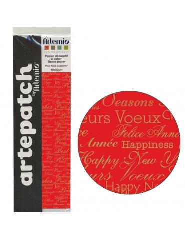 Artepatch - Papier décoratif Noël Textes - 1 feuille 40x50cm