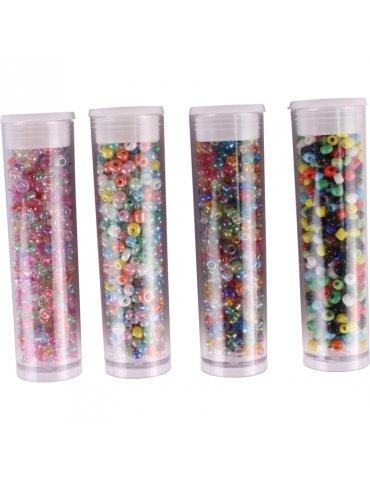 Perles de rocaille Multicolores 8g 4 tubes assortis - Ctop