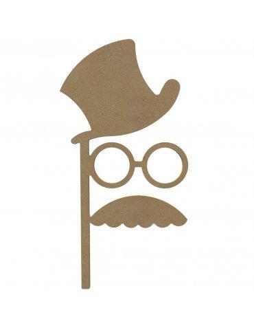 Photobooth medium- Chapeau/Lunettes/Moustache 38cm - Gomille