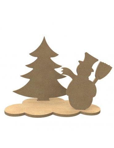 Support Medium - Sapin et bonhomme de neige à décorer