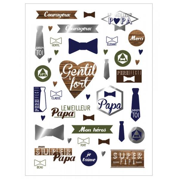 """Planche 41 Stickers """"Super Papa"""" avec Foil argent - Ctop"""