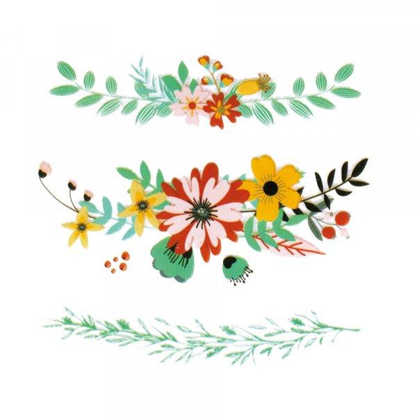 Set 3 Stickers textile - Bannières et Fleurs - 3 motifs thermocollants - Ctop