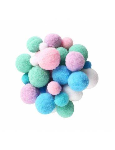 Assortiment 120 pompons pastel - Ctop