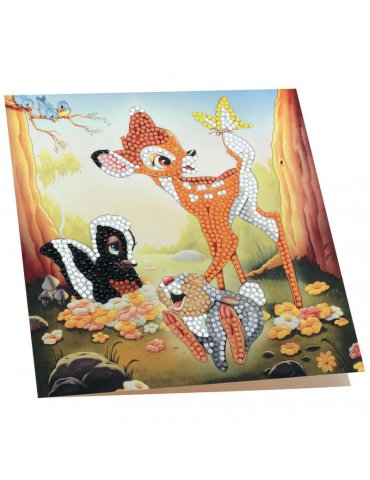 DISNEY Bambi - Carte à diamanter 18x18 cm - Crystal Art