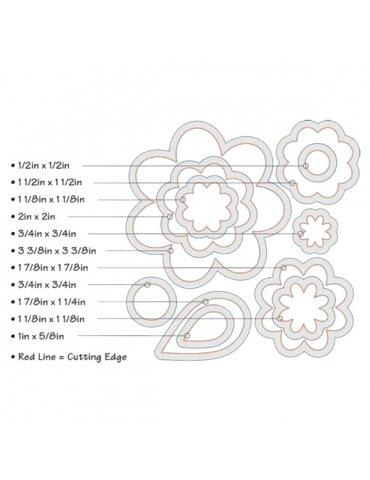 Sizzix - Set 11 Dies/matrices Framelits Fleurs et Feuilles