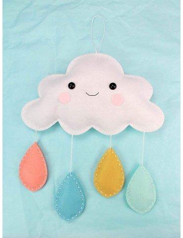 Kit DIY feutrine à coudre - Mobile nuage et gouttes - 25x23cm
