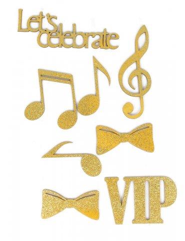 Silhouettes en bois pailletées - Gold VIP - 8 pièces - Artemio