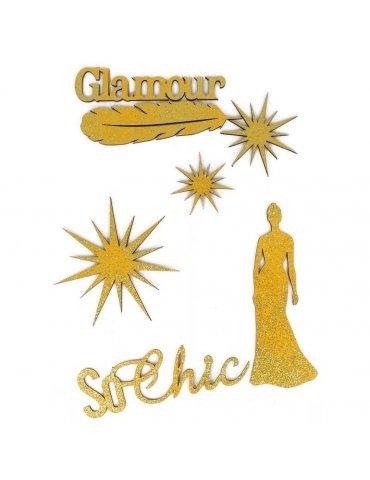 Silhouettes en bois pailletées Gold - Fêtes - 7 pièces - Artemio