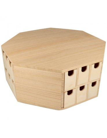 Calendrier de l'Avent bois octogonal - Rangement à tiroirs 32x32x12,5cm - Artemio