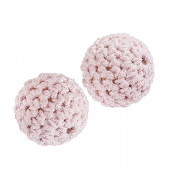 Perle crochetée Vieux Rose 20mm - 2 pièces - HobbyFun
