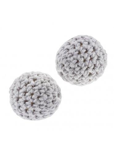 Perle crochetée Gris  20mm - 2 pièces - HobbyFun