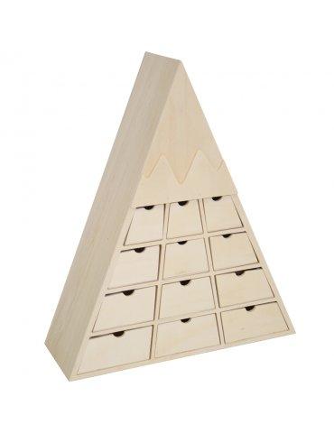 Calendrier de l'Avent bois Montagne - Rangement 24 tiroirs - 33,8x40cm - Artemio