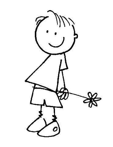 Tampon bois D - Garçon fleur