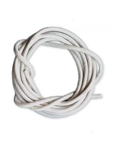Lanière cuir blanc 2mm /1m