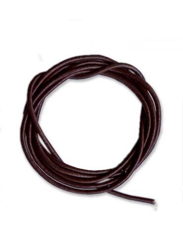 Lanière cuir brun foncé 2mm...