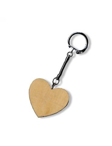 Porte-clé bois Coeur 4,5cm